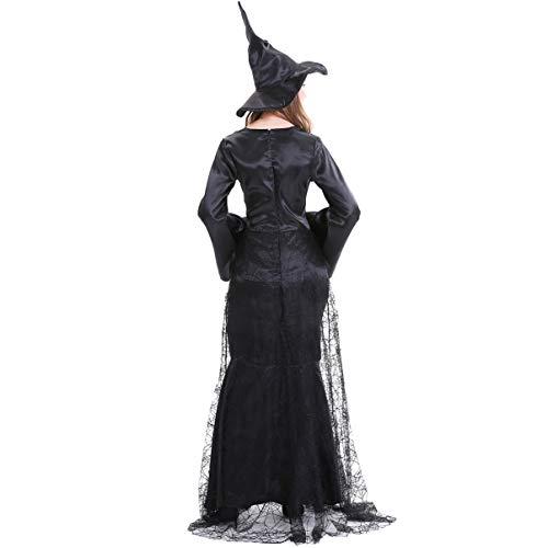 Homoyoyo Disfraces de Halloween Vestido de Bruja con Sombrero Tela de Araña Bruja Ropa Elegante Falda para Fiesta de Disfraces Vampiro Bruja Fantasma Novia Cosplay ( 158- 165Cm )