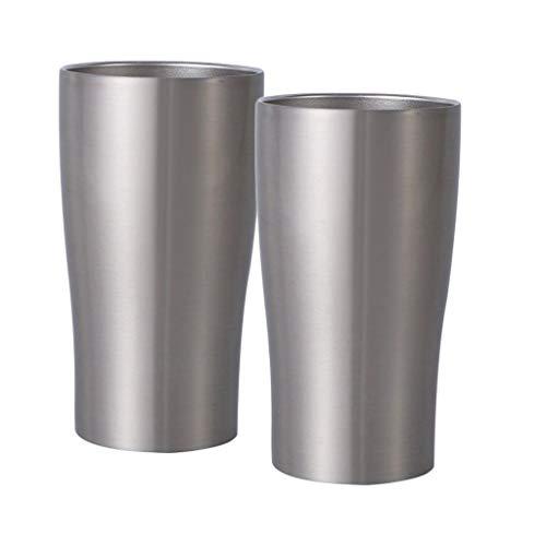 Non-brand 2 Uds 320ml Taza de Café de Acero Inoxidable de Doble Pared Tazas de Cerveza Tazas de Té de Leche Tazas de Café Portátiles Sin Tallo Camping Drinkware