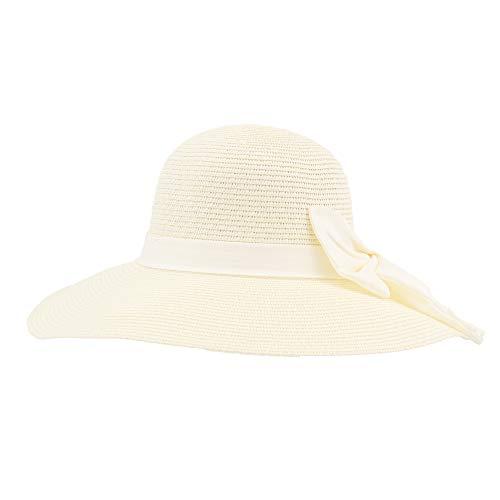 Sombrero de Paja de Verano para Mujer, Pamela de Playa y Sol de ala Ancha, Sombrero de Lazo Plegable y Flexible (Crema, 56cm)