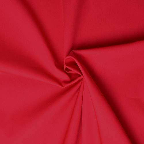 designers-factory Tessuto di Cotone al Metro - Disponibile in Diversi Colori - Stoffe di Cotone Tinta Unita – Stoffa al Metro 100% Cotone - Tessuto in Popeline per Cucire (1m x 1m46, Rosso)