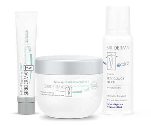 SIRIDERMA® Pflege-Set bei Neurodermitis | Basische Gesichtspflege | ohne Duftstoffe | Badekonzentrat, Pflegecreme, Reinigungsmilch | 3 Probiergrößen gratis