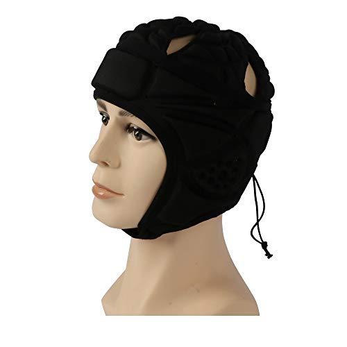 Best Goods Rugby Helm Sport Fußball Torhüter Helm Kopfschutz Kappe mit verstellbarem Kinnriemen und elastischem Seil für Hockey Fußball, Schwarz/Blau