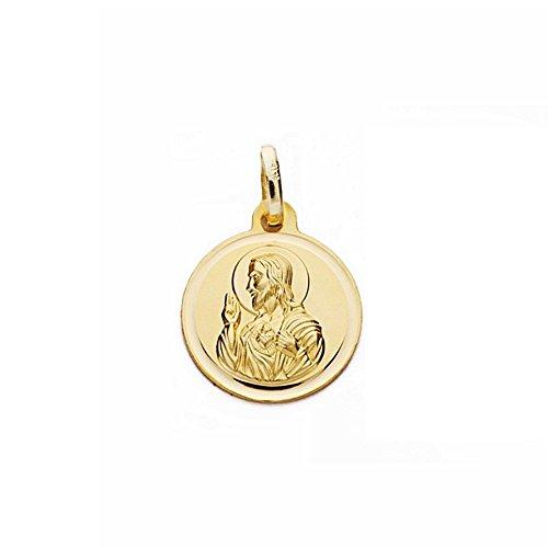 Medalla oro 18k escapulario 14mm Virgen Carmen Corazón Jesús [AA2481]