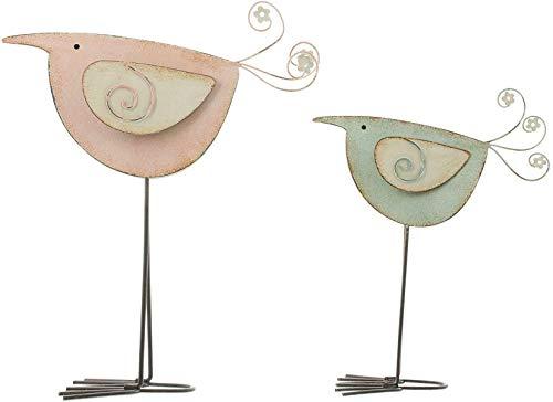 2 Deko-Vögel aus Metall im Shabby Look, 19 + 24 cm hoch, Frühlingsdeko, Tier-Deko-Figuren