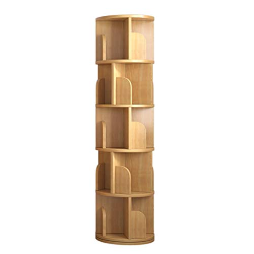 AVEO Bookshelf Solid Wood Rotating Bookshelf for Living Room, Study Room 360 Degree Storage Round Bookcase Corner Frame Bookcase (Color : Wood Color, Size : Five)