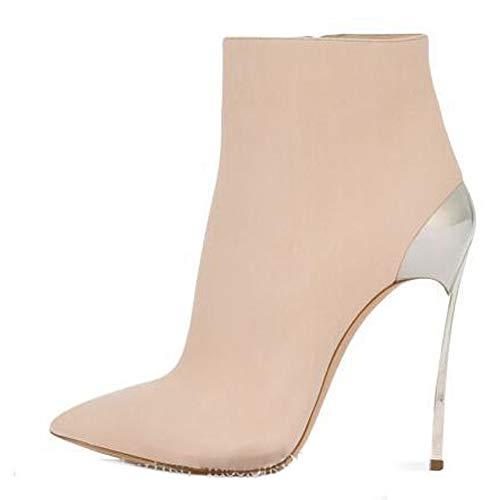 LGYKUMEG Damen Stiefeletten Reißverschluss,12Cm Stilettos Hoch Heel Stiletto Ankle,Damen...