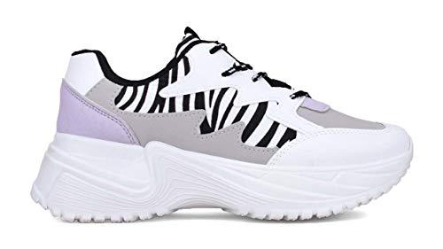 BOSANOVA Zapatillas en Varios Tonos con Detalles Efecto Cebra, Suela de Goma de 5 cm y Detalle de Acabados en la Suela. Cierre con Cordones Bicolor para Mujer