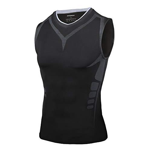 AMZSPORT Camiseta sin Mangas de Compresión Ropa Deportiva Base Layer para Correr, Negro, M