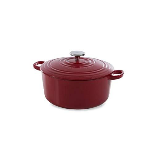 BK Cookware Cocotte en Fonte Émaillée avec Couvercle 28 cm, Dutch Oven, Casserole Induction Ronde 6.7 Litres, Tous Feux, Chilli Rouge