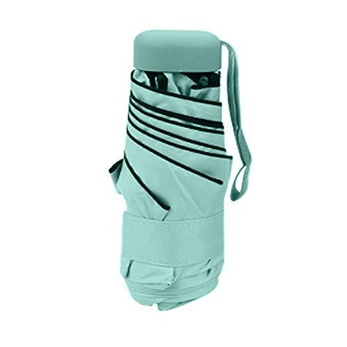 YQE Mini Regenschirm für Frauen Leichter klappbarer Sonnenschirm Regenschirm Sonnenschirm Anti-UVRegenschirm Parapluie, Grün