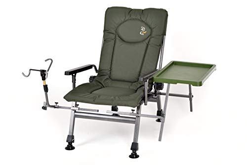 Carp Angelstuhl Campingstuhl F5R ST/P Stuhl Deluxe Karpfen Angler Campingstuhl mit extra Höhe und Tisch Angelrutenhalter