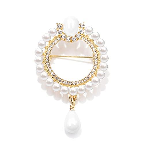 SSMDYLYM 2 Colores Elegir Pearl and Rhinestone Flower Circle Broches para Las Mujeres Elegante Broche Pin Regalo de Invierno (Color : Gold)