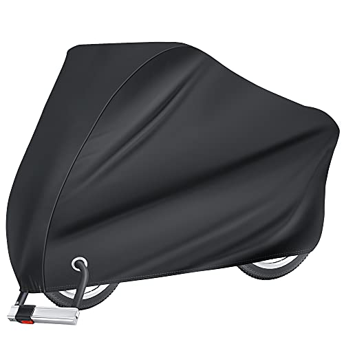 Puroma Bike Cover Outdoor Waterproof Bicycle Covers Rain Sun UV Dust Wind Proof with Lock Hole for Mountain Road Electric Bike, XL (Basic Black)