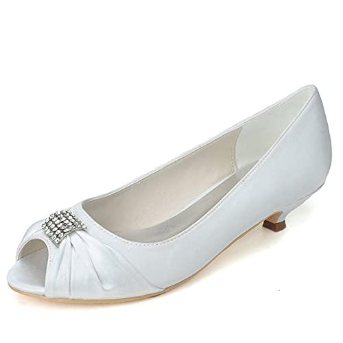 Zapatos de Boda de Mujer Verano Punta Abierta Tacón bajo Diamante Satén...