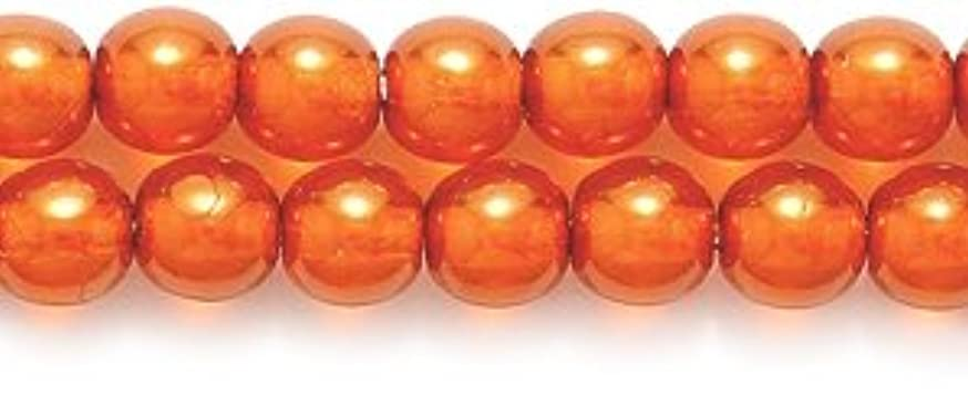 Preciosa Ornela Imitation Round Glass Pearl, 4-mm, Luster Dark Orange On Crystal, 200-Pack