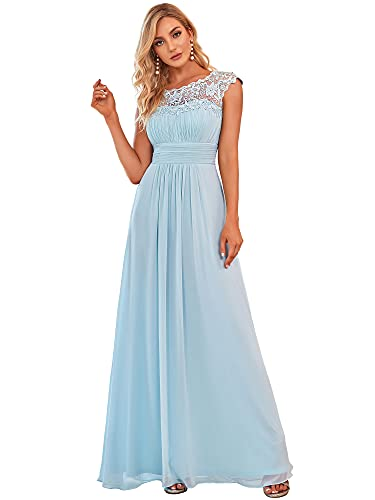 Ever-Pretty Robe de Soirée Longue Demoiselle d'honneur Femme 36 Bleu Clair