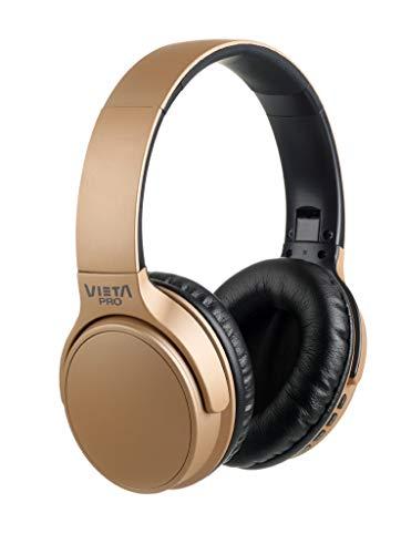 Vieta Pro Way – Auriculares inalámbricos (Bluetooth, radio FM, micrófono integrado, entrada Auxiliar, reproductor Micro SD, plegables, autonomía 40 horas) dorado
