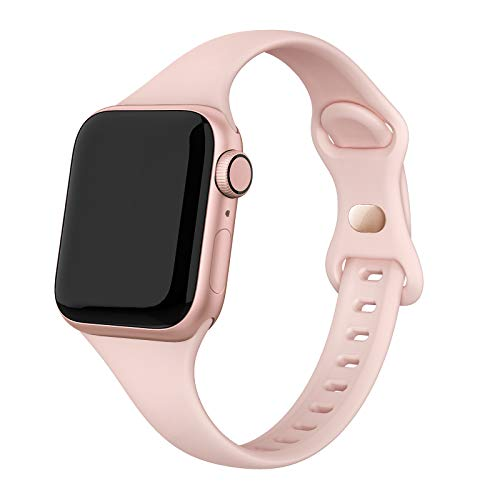 SWEES Sport Band Compatible with iWatch 42mm 44mm, Narrow Soft Silicone Slim Thin Small Replacement Wristband Strap Compatible for iWatch Series 6 5 4 3 2 1 SE Sport Edition Women Men, Pink Sand