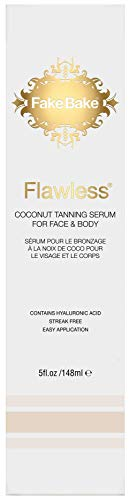Fake Bake Flawless Coconut Tanning Serum | Glowing Sunnless Tan For Face & Body | Natural Moisturizing Anti-Aging Skin Benefits | Gloves Included for Easy Application , black ,5 oz