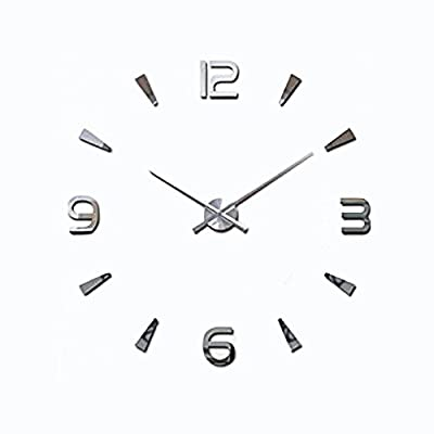 Lance Home Creative Special Large DIY Quartz Decoration 3D Wall Clock Modern Design Mirror Sticker Wall Clocks Watch Hours Non-ticking Home Kitchen/Living Room Wall Clock -Silver