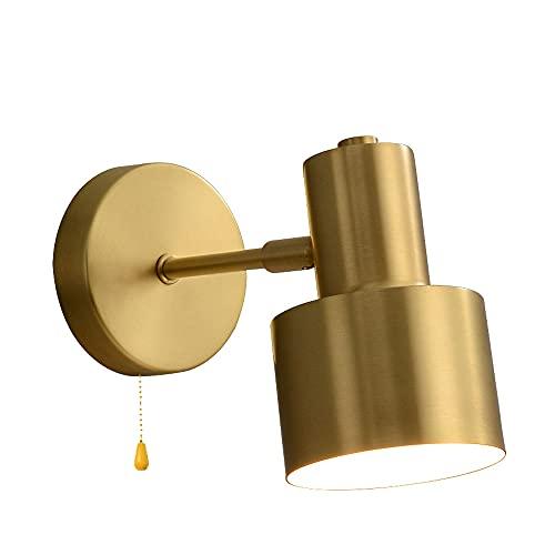 Lámparas de pared con brazo oscilante de cobre, vintage industrial E27 con interruptor de línea de tracción en la lámpara de pared, luces de pared ajustables en dorado Simplicity, para espejo de tocad