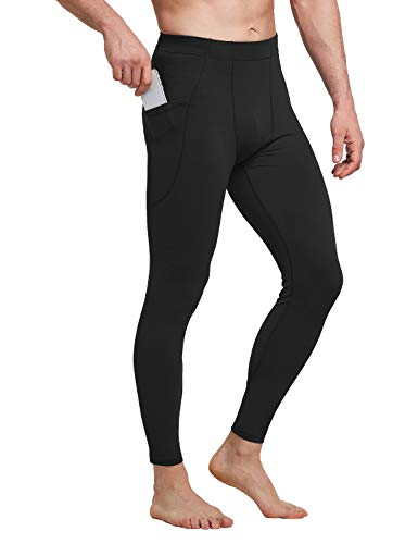 BALEAF Men's Yoga Leggings with Pockets Athletic Sports Running Tights Compression Pants for Workout Dance Cycling Black L