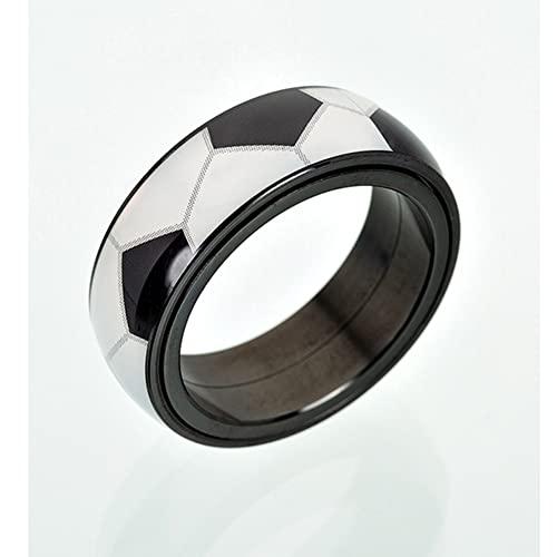 SYF@QYY 8Mm Spinner Bola Deportiva Patrón Anillo, Hombres Moda Boda Acero Titanio Regalo Joyería,Football,7