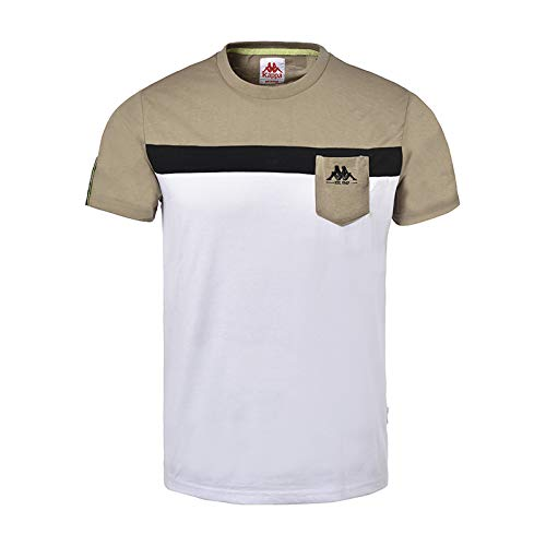 Kappa IDO, T-Shirt Uomo, Coriandre, Noir, Blanc, M