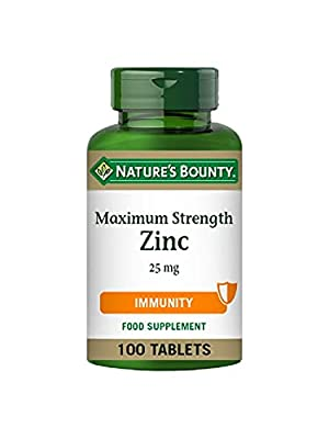 Nature's Bounty Maximum Strength Zinc – 100 25mg Tablets (100 Day Supply) – Immunity Support and Antioxidant Supplement