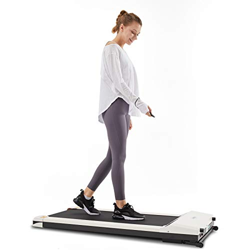UMAY Portable Treadmill with Foldable Wheels, Under Desk Walking Pad Flat Slim Treadmill, Sports App, Installation-Free, Remote Control, Jogging Running Machine for Home Office
