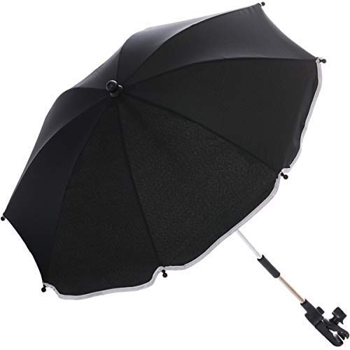 Sonnenschirm für Kinderwagen Buggy und Jogger mit UV SCHUTZ (50) Baby Kind Schirm (Schwarz)