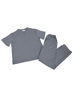 Women's Scrub Set - Medical Scrub Top and Pant, Grey, XXXX-Large
