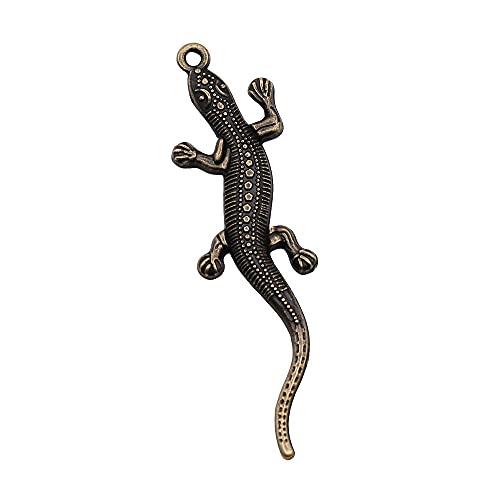 WANM Colgante 10 Uds Colgantes para Hacer Joyas 2 Colores Bronce Antiguo Color Plata Lagarto Gecko Encantos 56X15Mm