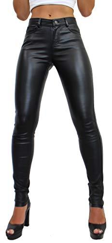 RICANO Pandora Damen Stretch Lederhose Leggings, Lamm Nappa Echtleder in schwarz (Schwarz, L)