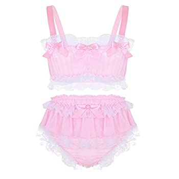 CHICTRY Men s Lace Ruffles Frilly Bra Top Bralette with Sissy Satin Panties Skirted Lingerie Set Pink Medium
