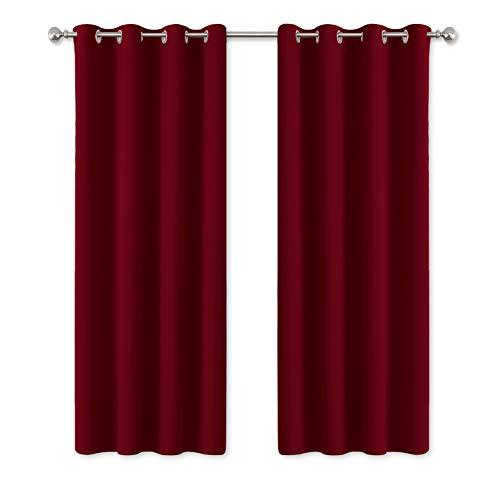 PONY DANCE Gardinen Rot Blickdicht - Thermovorhang Blickdicht Ösenschal Verdunkelungsvorhänge Schlafzimmer Kindergardinen Dekoschals, 2 Stücke H 175 x B 140 cm