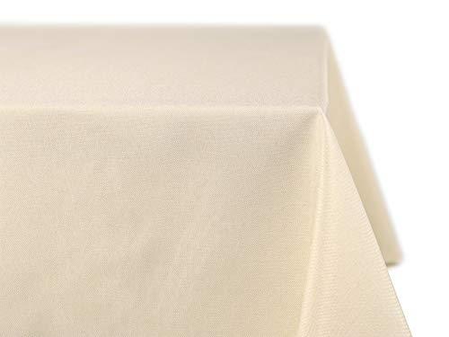 BEAUTEX fleckenabweisende und bügelfreie Tischdecke - Tischtuch mit Lotuseffekt - Tischwäsche in Leinenoptik - Größe und Farbe wählbar, Eckig 110x140 cm, Creme
