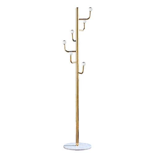 HAIZHEN Metalen Kapstok, 6 haken Hall Tree, Heavy Duty Floor Stading Hanger marmeren voet, RVS beugel