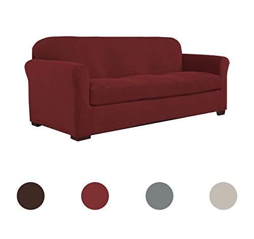 Perfect Fit Serta | Slip-Resistant Form Fitting Box Sofa Slipcover, Lightweight Ultra Durable Stretch Grid Fabric (Garnet, 2-Piece)