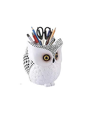 Multipurpose Cute White Storage Owl Office Desk Pen Pencil Holder,Unique Home Table bookshelf nightstand Scissor Brush Organizer Container Holder Handicraft Decor Gift