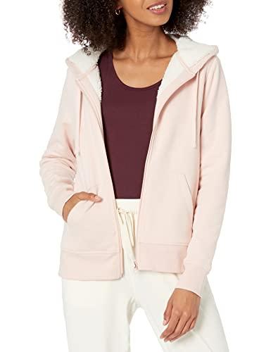 Amazon Essentials - Jersey con capucha, forro polar sherpa y cierre de cremallera completa para mujer, Rosa (Light Pink), US XXL (EU 3XL - 4XL)