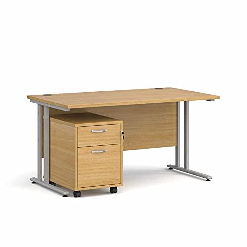 Maestro - Juego de 25 escritorios, 800 mm de profundidad, recto, pedestal móvil con 2 cajones con patas voladizas, color roble, 140 cm