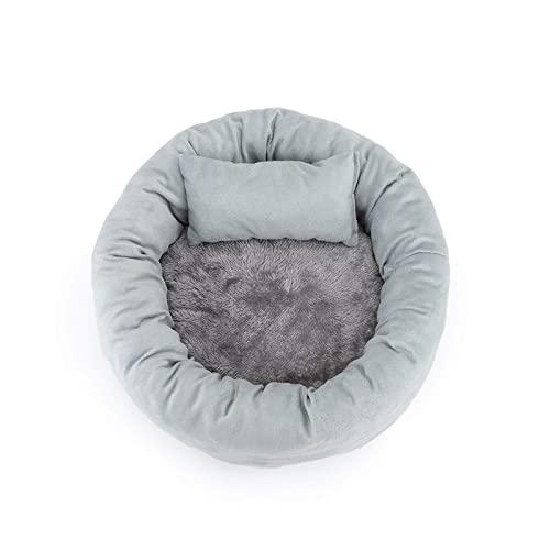 YWS Nido redondo de huevo para mascotas, cama para perros pequeños y cama para gatos, adecuado para suministros de mascotas de interior súper suave y lavable, gris claro - S (pequeño, gris claro)