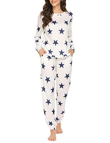Ekouaer Womens Pajama Set Long Sleeve Sleepwear Star Print Cotton Nightwear Soft Pjs Lounge Sets with Pockets (PAT3, X-Large)