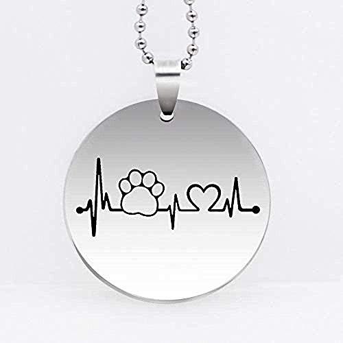 WYDSFWL Collar de Acero Inoxidable con Colgante de Perro, Accesorios para Mascotas, Regalo para Perros, Collar de Regalo para Amantes de Las Mascotas