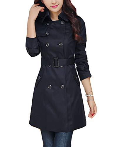 Trench Donna Invernale Elegante Cappotto Doppio Petto Blazer Ufficio Casual Autunno Parka Navy M