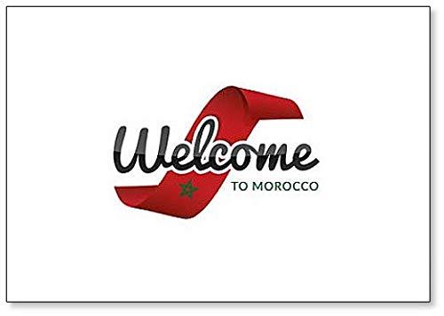 Kühlschrankmagnet, Motiv: Welcome to Morocco mit Flagge