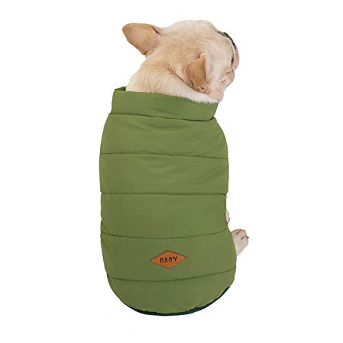 Absir Solid Color Pet Vest Winter Single-Breasted Puppy Clothes for small size dog clothes A731-3 Bulldog Cotton Vest - Army Green S