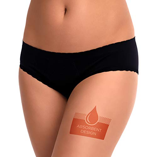 EvaWear 2 Pack, Tampon Replacement, Premium Quality, Menstrual Leakproof Period, Postpartum Maternity Panties, XXL Brief Black