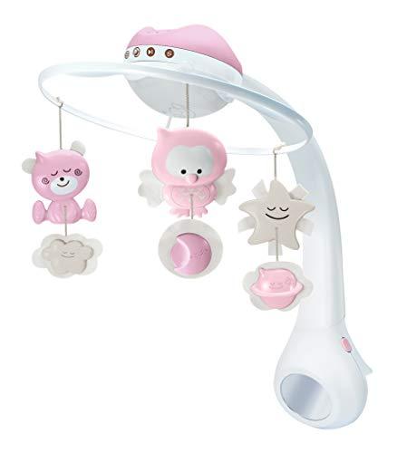Infantino 3-in-1 Projector Musical Mobile in Pink – Mobile, Tisch- & Kinderbettlampe und Sternprojektor für Babys – Mit beruhigenden Melodien und Naturgeräuschen